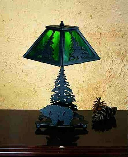 Meyda Tiffany Grizzly Bear And Pine Accent Lamp - Green