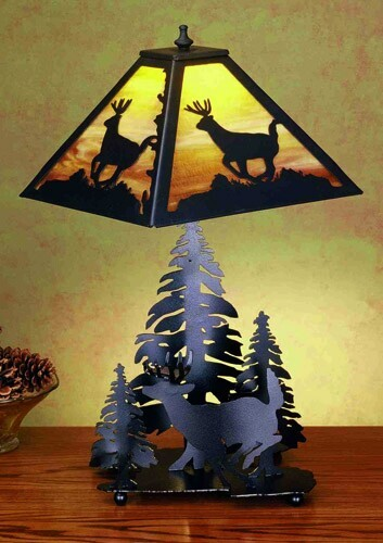 Meyda Tiffany Deer And Pine Forest Table Lamp - Yellow Amber