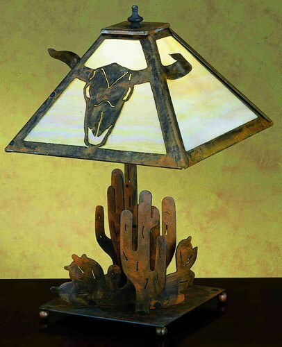 Meyda Tiffany Steer Skull With Cactus Table Lamp