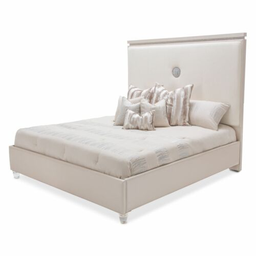 AICO Glimmering Heights Queen Upholstered Bedroom Set by Michael Amini