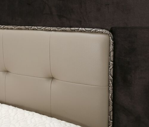 AICO 21 Cosmopolitan California King Upholstered Tufted Bed in Pebble Grain Taupe by Michael Amini