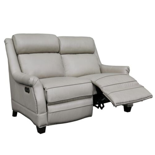Barcalounger Vintage Warrendale Power Leather Reclining Loveseat with Power Headrests in Shoreham Cream