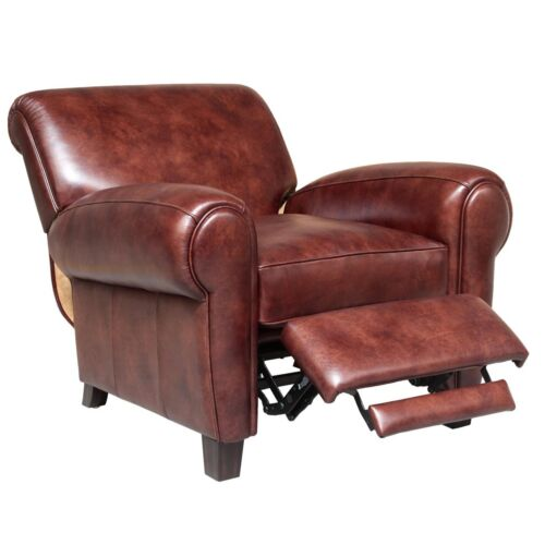 Barcalounger Vintage Edwin Leather Recliner in Wenlock Fudge