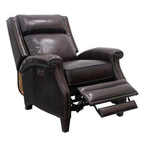 Barcalounger Vintage Barrett Power Leather Recliner with Power Headrest in Stetson Coffee