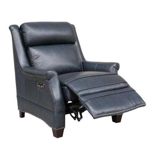 Barcalounger Vintage Warrendale Power Leather Recliner with Power Headrest in Shoreham Blue