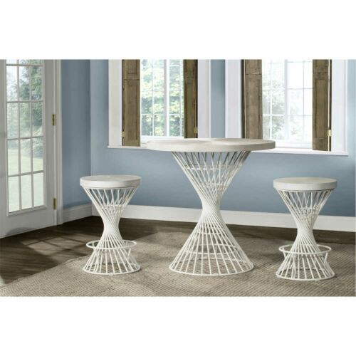 Hillsdale Furniture Kanister 3-Piece Round Counter Height Dining Set in White
