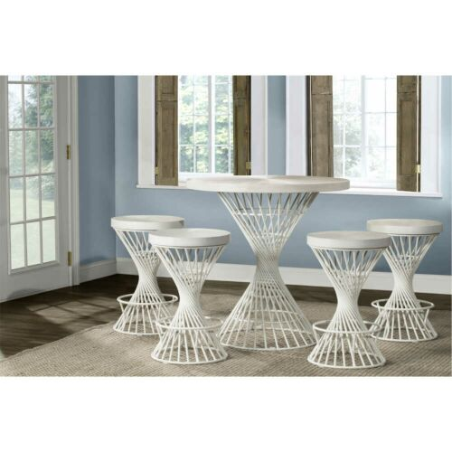 Hillsdale Furniture Kanister 5-Piece Round Counter Height Dining Set in White