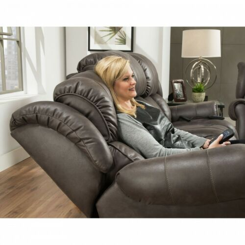 HomeStretch Atlantis 3 Piece Living Room Set with Power Headrest and Power Lumbar Foot Extension in Slate