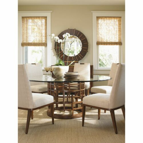 Tommy Bahama Island Fusion Meridien 72 in Glass Round Dining Table
