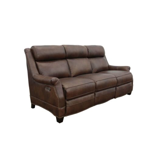 Barcalounger Warrendale Leather Sofa with Power Recline and Power Headrests - Worthington Cognac