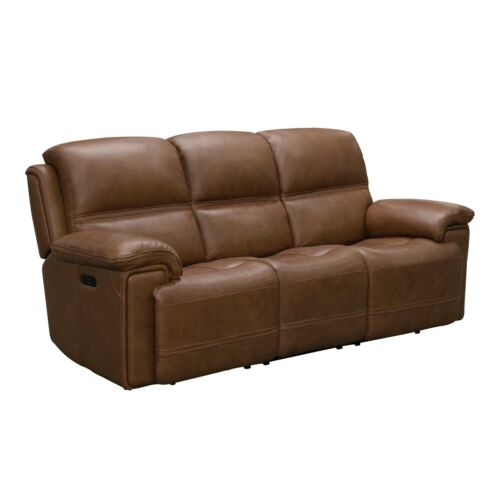 Barcalounger Sedrick Leather Match Sofa with Power Recline and Power Headrests - Spence Caramel