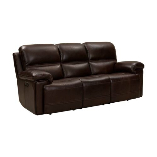 Barcalounger Sedrick Leather Match Sofa with Power Recline and Power Headrests - El Paso Walnut