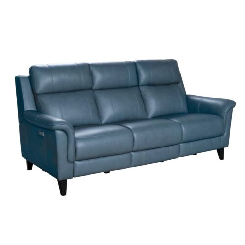 Barcalounger Kester Leather Match Sofa with Power Recline and Power Headrests - Masen Bluegray