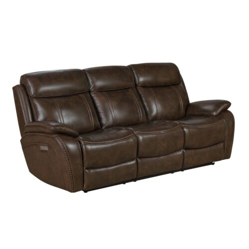 Barcalounger Sandover Leather Match Sofa with Power Recline, Power Headrests & Power Lumbar - TriTone Chocolate