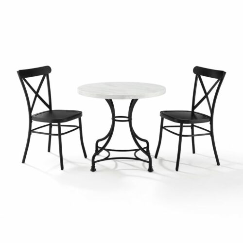 Crosley Madeleine 32 Inch 3 Piece Dining Set with Camille Chairs