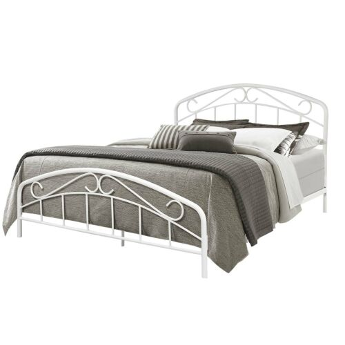Hillsdale Furniture Jolie King Metal Bed in Textured White