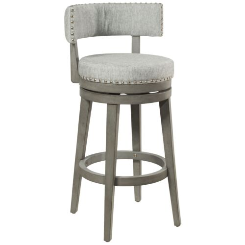 Hillsdale Furniture Lawton Swivel Bar Height Stool in Antique Gray