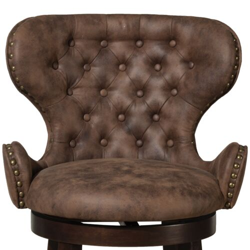 Hillsdale Furniture Mid-City Wood and Upholstered Swivel Bar Height Stool in Chocolate