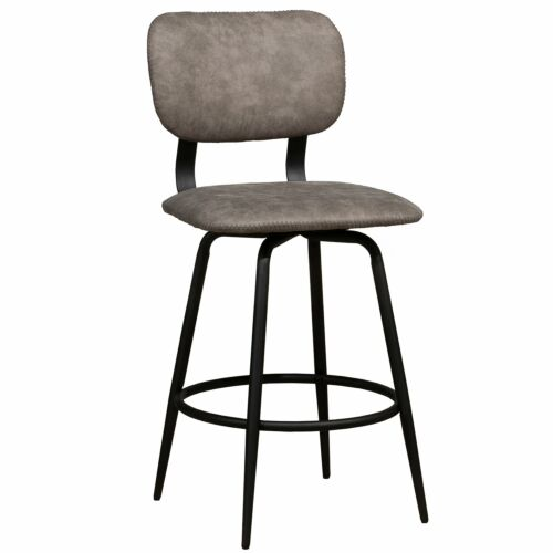 Hillsdale Furniture Bloomfield Retro Metal Upholstered Seat and Back Swivel Counter Height Stool Set of 2 in Matte Black