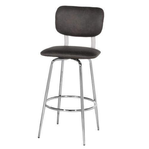 Hillsdale Furniture Bloomfield Retro Metal Upholstered Seat and Back Swivel Bar Height Stool Set of 2 in Chrome