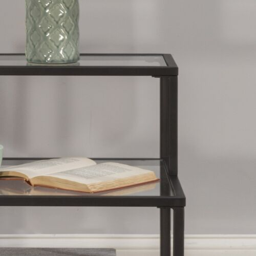 Hillsdale Furniture Harlan 3-Tier End Table with 2 Large and 1 Small Glass Shelf in Black