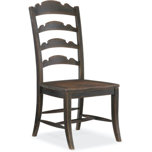 Hooker Furniture Hill Country Twin Sisters Ladderback Side Chair-Set of 2 in Black