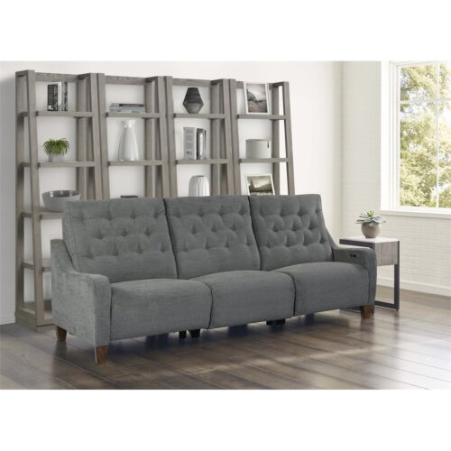 Parker Living Chelsea Power Triple Reclining Sofa in Willow Grey