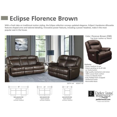 Parker Living Eclipse Power Sofa in Florence Brown