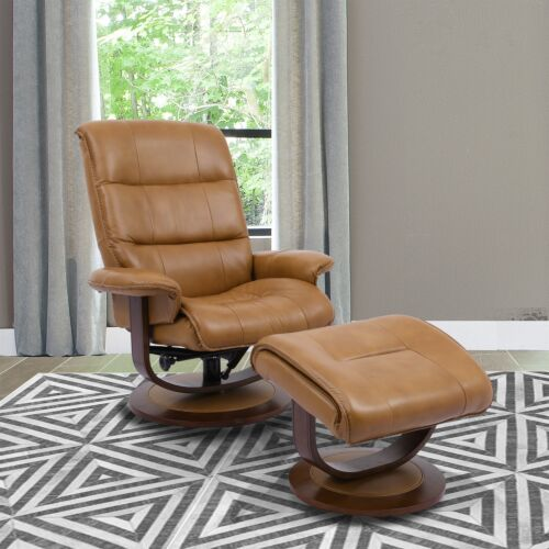 Parker Living Knight Manual Reclining Swivel Chair and Ottoman in Butterscotch