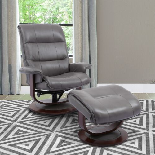 Parker Living Knight Manual Reclining Swivel Chair and Ottoman in Ice
