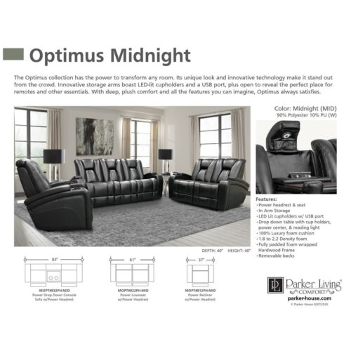 Parker Living Optimus Power Sofa in Midnight