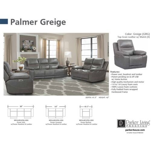 Parker Living Palmer Power Sofa in Greige