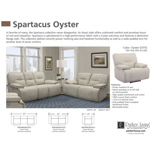 Parker Living Spartacus Power Sofa in Oyster