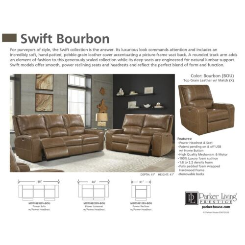 Parker Living Swift Power Sofa in Bourbon
