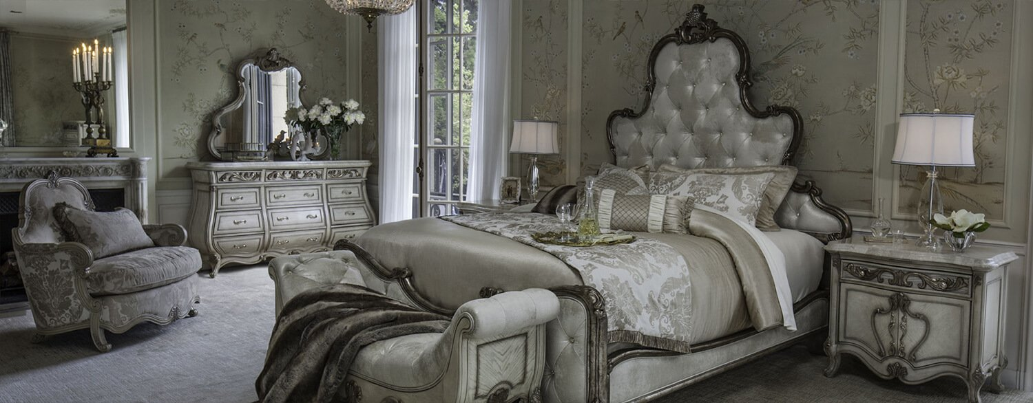 AICO Platine de Royale California King Panel Bed by Michael Amini in a Room Setting