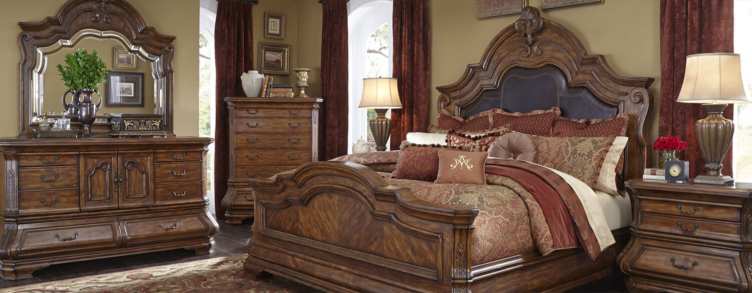 AICO Tuscano Melange Queen Mansion Bed by Michael Amini in a Room Setting