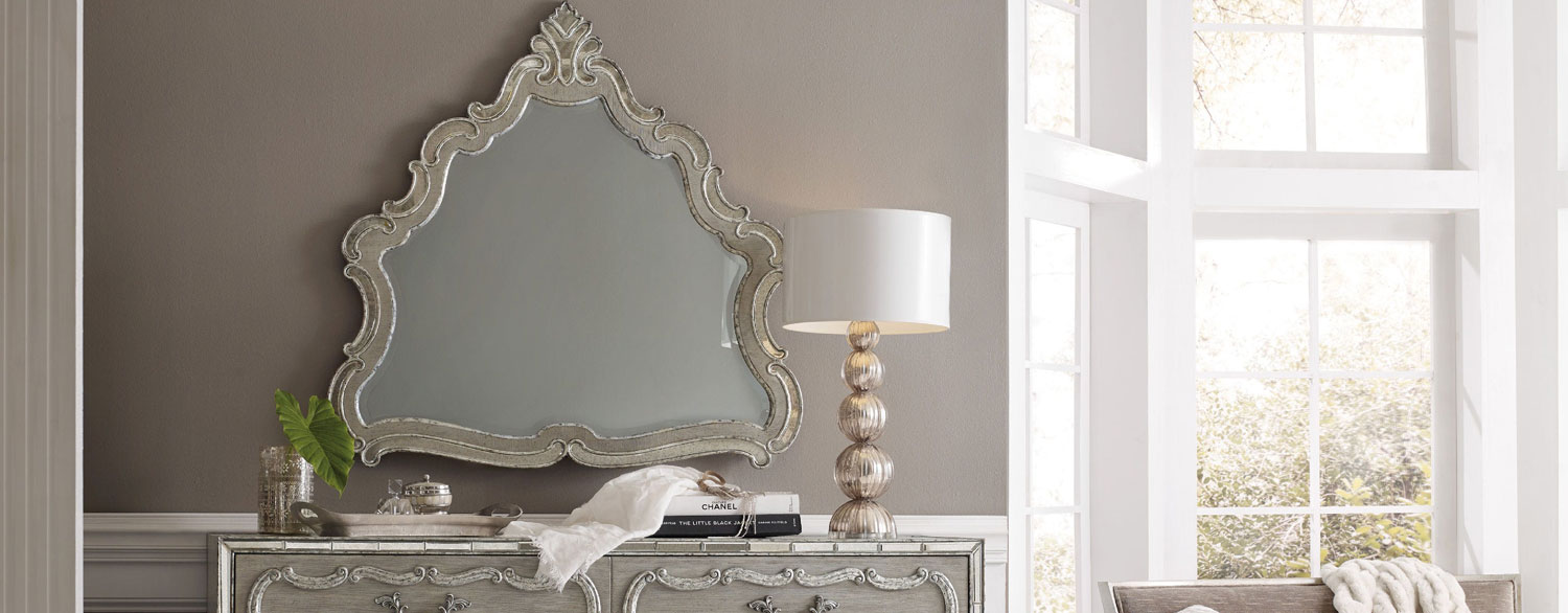 Hooker Sanctuary Epoque Shaped Mirror in a Room Setting